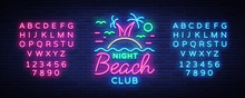Beach Nightclub Neon Sign. Log...