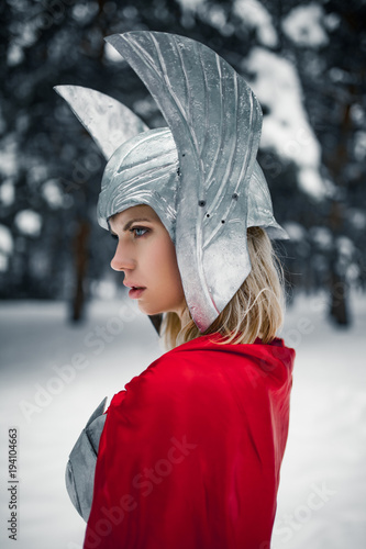 Portrain of woman in image of Germanic-Scandinavian God of thunder and storm Canvas Print