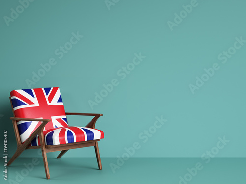 Obraz United Kingdom flag chair on blue background with copy space. Digital illustration.3d rendering - fototapety do salonu
