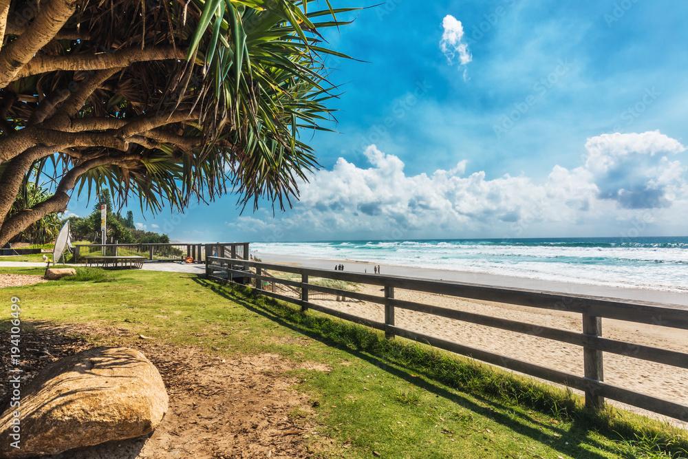 Fototapety, obrazy: COOLUM, AUSTRALIA, FEB 18 2018: People enjoying summer at Coolum main beach - famous tourist destination in Queensland, Australia.