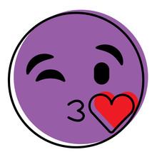 Purple Emoticon Cartoon Face Blowing A Kiss Love Vector Illustration