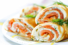 Pancakes With Fish Salmon, Che...