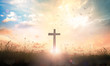 canvas print picture - Ascension day concept: The cross on meadow autumn sunrise background