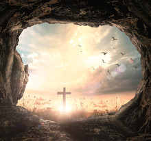 Resurrection Of Easter Sunday Concept: Empty Tomb With Cross Symbol For Jesus Christ Is Risen
