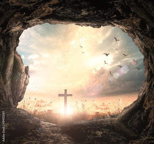 Resurrection of Easter Sunday concept: Empty tomb with cross symbol for Jesus Ch Canvas Print