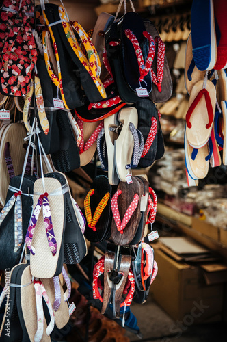 000878faaafa9 Traditional Japanese sandals Zori at local shoes shop in shinagawa ...