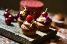 Cherry Cupcakes With Chocolate...