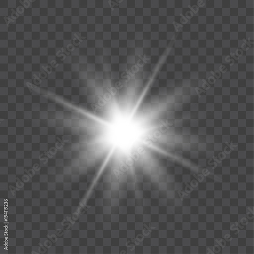 Fotografía  Vector bright light effect isolated on transparent background