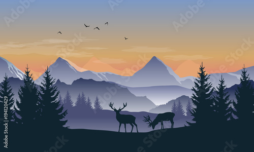 Foto op Plexiglas Purper Vector blue and orange landscape with sunset view of silhouettes of mountains, hills and forest and two deer