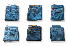 Blue Jeans Pants Top View Isolated On White