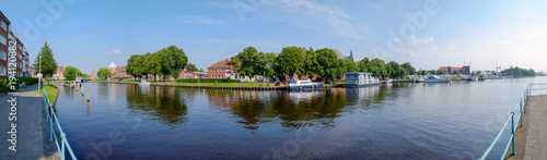 Teil des Hafens von Emden im Panorama Canvas Print