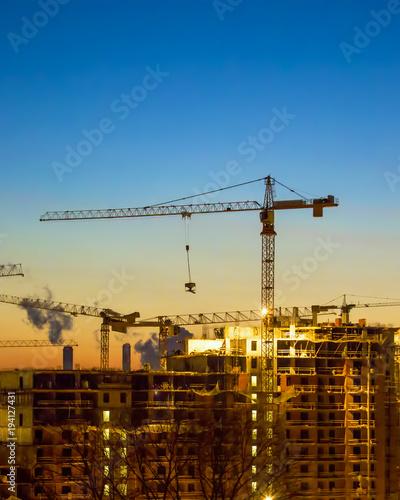 Obraz na płótnie Home construction. sunset.