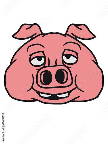 Kopf Gesicht Groß Dick Fett Schwein Eber Ferkel Comic Cartoon Lachen