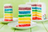 Fototapeta Tęcza - Birthday background - striped rainbow cake with white frosting