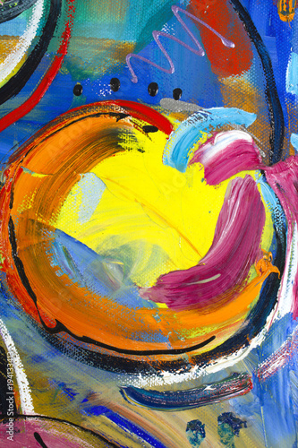 Fotografía  Vibrant multi-colored original oil painting semi-abstract close up detail showin