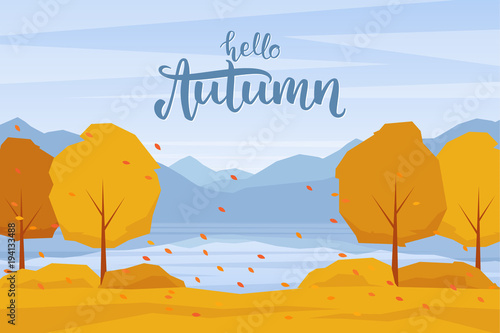 Wall Murals Green coral Vector illustration: Autumn landscape with mountains lake, trees and fall leaves.