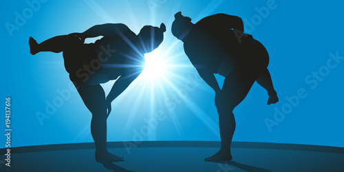 Photo  sumo - japon - sport - combat - force - japonais - gros - énorme - symbole - com