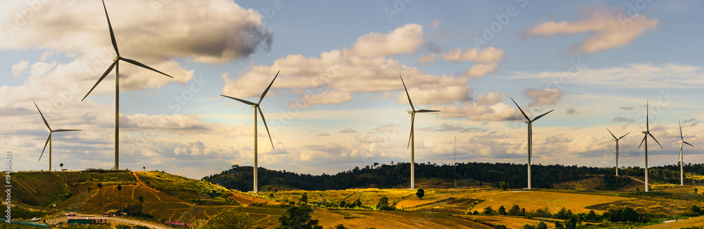Fototapety, obrazy: energy saving concept with panorama view from wind turbine construction in field and meadow on mountain with beauty blue sky and cloudy background