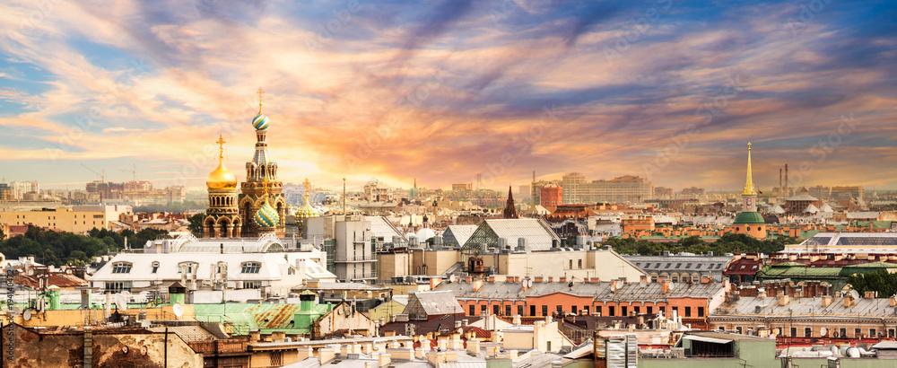 Fototapeta Aerial view of St Petersburg, Russia