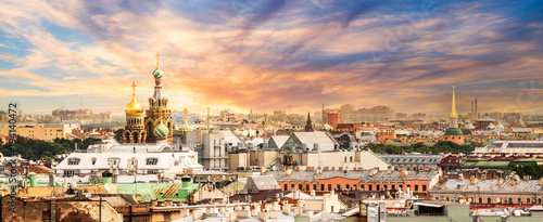 Poster Asia land Aerial view of St Petersburg, Russia