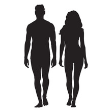 Man And Woman Body Silhouettes...