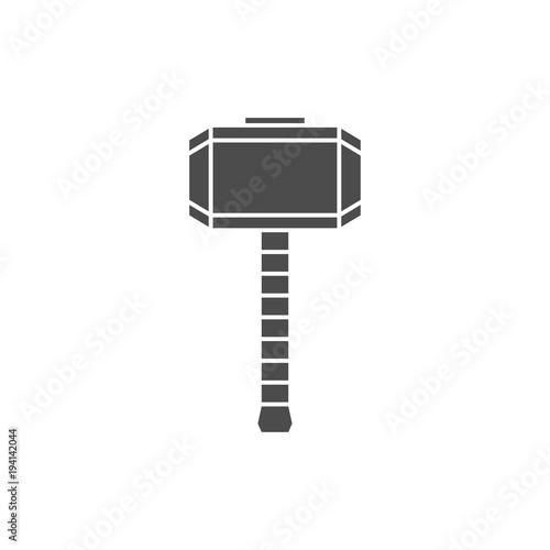 Photo  Hammer of Thor silhouette, Mjolnir icon.
