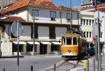 Traditional old tram in Porto street. European sights.