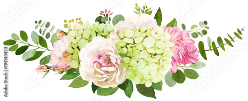 Wedding bouquet. Peony, Hydrangea and rose flowers watercolor ...