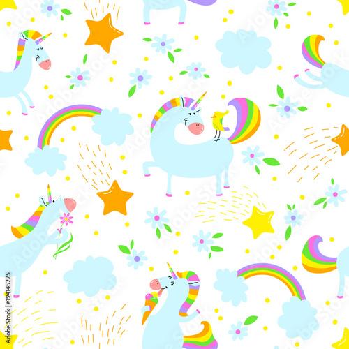 Stoffe zum Nähen Hintergrund der magischen Einhörner. Nahtlose Muster mit mystischen Pferd mit Mais und Sternen und Regenbogen