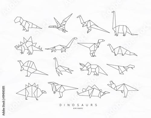 Obraz na plátně Dinosaurus origami set flat