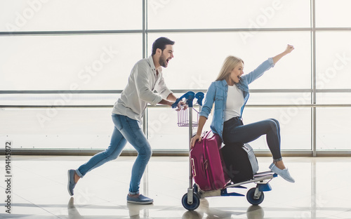 Couple in airport