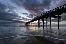 Fishing Pier At Sunrise In Out...