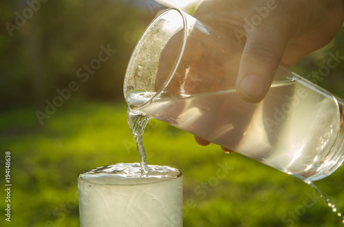 Photo A glass filled the water