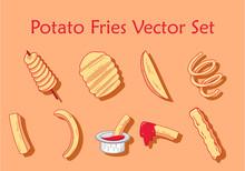 Potato Fries Vector Set