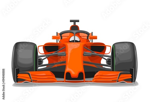 Foto op Plexiglas F1 Racing car with protection front view. Vector flat color illustration