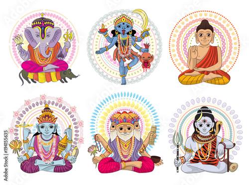 Indian god vector hinduism godhead of goddess and godlike idol Ganesha in India Canvas Print