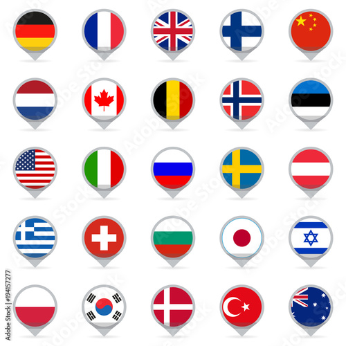 Map Of France Holland And Germany.Flag Icon Set Map Pointers Or Markers With Flags Of Usa Uk