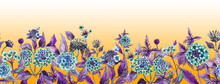 Colorful Summer Wide Banner. Beautiful Lantana Flowers With Purple Leaves On Orange Background. Horizontal Template. Seamless Panoramic Floral Pattern. Watercolor Painting.