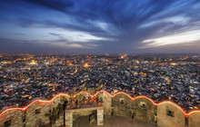 Jaipur City View From The Fort At Sunset, India
