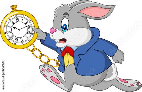 Fototapeta premium Kreskówka królik trzyma zegarek
