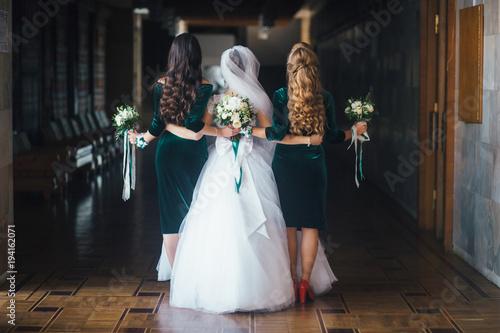 Printed kitchen splashbacks Fairytale World Bride and bridesmaids in green dresses hold wedding bouquets in their arms