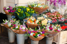 Flowers For Sale At Street Market In England