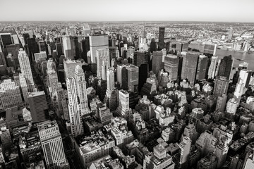 Aerial view of Midtown skyscrapers in Black & White, Cityscape, Manhattan, New York CIty
