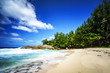 beautiful tropical beach with palms,granite rocks and turquoise water, seychelles 2