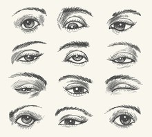 Vintage Eyes. Vector Human Eye Set Old Drawing For Medicine And Cosmetic Illustrations In Retro Engraved Style