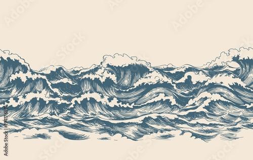 Fotomural Sea waves sketch pattern