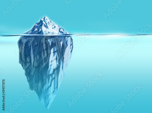 Synergy- iceberg background with deep blue ocean Canvas Print