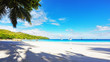 Paradise beach.White sand,turquoise water,palm trees at tropical beach,seychelles 28