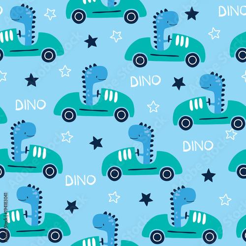 Materiał do szycia wyścigowe bezszwowe dinozaur zwierząt z samochodu wzór wektor ilustracja