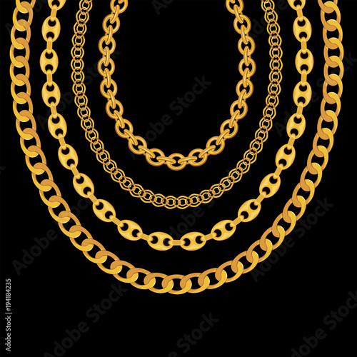 Photo Gold Chain Jewelry on Black Background. Vector Illustration